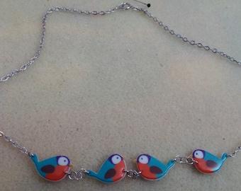 Cute flock of birds necklace