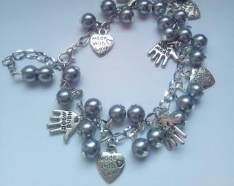 Silver-gray glass pearls charm bracelet
