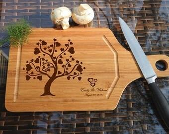 kikb498 Personalized Cutting Board Wood wooden wedding gift anniversary date heart tree