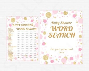 Pink and Gold Baby Shower Word Search Game + Sign - Girl Baby Shower Games, Word Search, Printable Baby Shower Games, Download, CB0003-pg