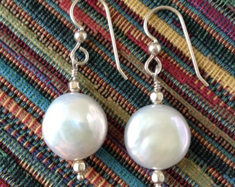 White Coin Pearl earrings, Sterling silver and coin pearls jewelry, round pearl earings, Gift for her, Birthday gift