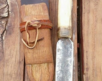 Forged file dagger with deer bone handle