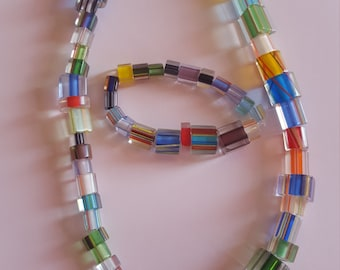 Multi colored glass bead necklace and bracelet