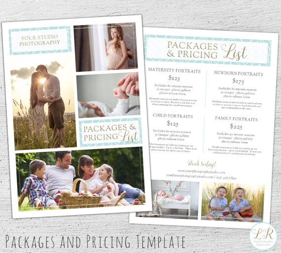Wedding Family Photography List: Photography Price List Photoshop Template Marketing Price