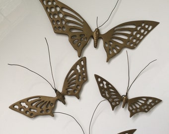 Vintage Solid Brass Butterfly Moth Wall Decor (set of 4)