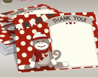 INSTANT DOWNLOAD - Cute Sock Monkey Baby Shower Thank You Card Red Sock Monkey