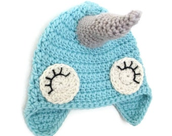 narwhal hat, winter hat, animal hat, crochet animal hat, whale hat, infant hat, blue baby hat, blue whale hat, crochet baby hat