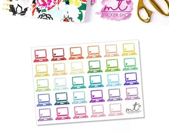 Glitter Laptops || 29 Planner Stickers || Erin Condren Life Planner, Happy Planner || SKU 007