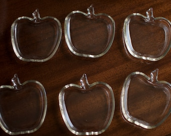 6 Apple Glass Coasters - Could be Hazel Atlas glass