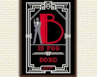 James Bond 007 - Cross Stitch Pattern pdf - B is for Bond - movies - cinema - Art Deco - geeky counted pattern - x stitch chart - KbK-040