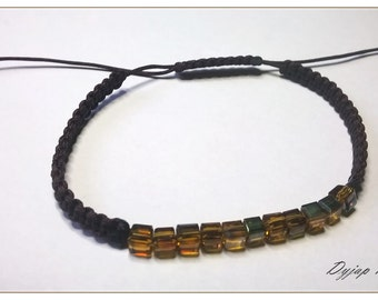 Brown glass and macrame bracelet