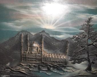 Vintage oil collage painting landscape palace