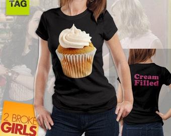 T-SHIRT 2 BROKE GIRLS cupcakes donna lady tv series replica tshirt tees pink