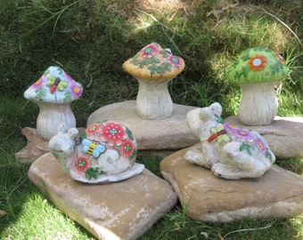 High Quality Mushroom 5 Pc Set Gnome Garden Outdoor Decor Snail Frog Statue Cement 110Z