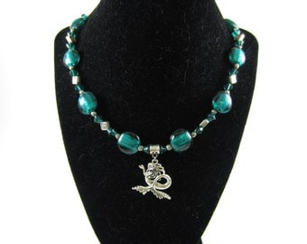 Mermaid necklace with teal lampworked beads, 18 inches
