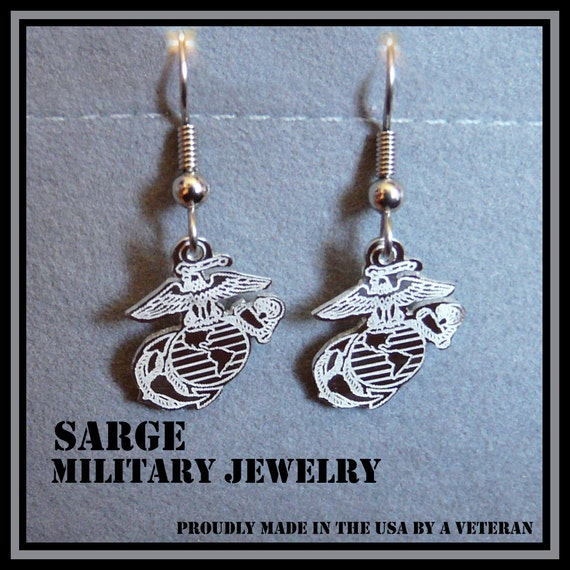 items similar to marine corps logo earrings sterling. Black Bedroom Furniture Sets. Home Design Ideas