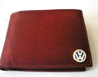 Volkswagen Brown Calfskin Men's Bifold Wallet