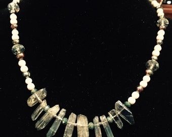 Blue iridescent glalcier waterfall natural crystal beaded necklace