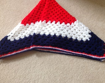 Crochet red white blue blanket