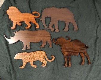 African Big Five animals.  Solid African Sapele hardwood