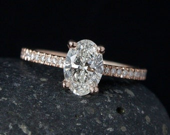 Rose Gold Oval Brilliant Cut Diamond Engagement Ring - Prong Set Diamond Ring - Pave Diamond Band