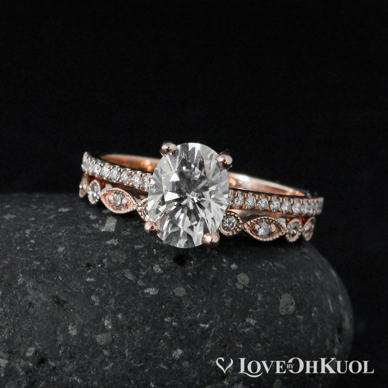 Forever One DEF Colorless Oval Solitaire Engagement Ring Set