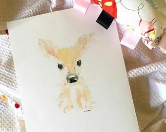 Watercolour deer print, wall art, nursery art,  girl's room, boy's room, baby shower gift
