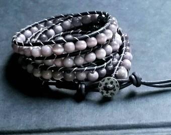 4 wrap ladder bracelet, purple cat's eye glass, boho bracelet, adjustable