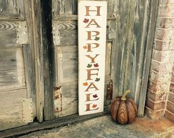 "Wood Sign ""Happy Fall"" - Fall Decor - Autumn Decor - Thanksgiving - Halloween - Harvest - Farmhouse Style"
