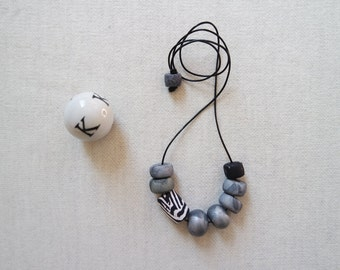 SALE Handmade Polymer Clay Beaded Geometric Necklace Silver Metallic Marble Neutrals