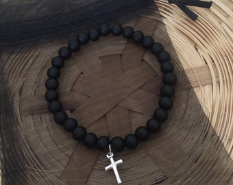 Sterling Silver Christian Cross Black Beaded Bracelet