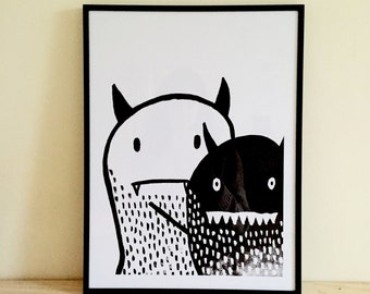 Framed Little Monster & Friend Print