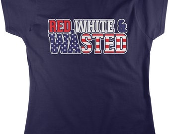 Red White and Wasted, American Pride, US Beer, US Flag Women's T-shirt, NOFO_00194