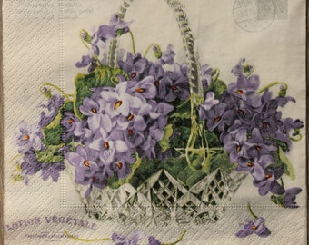"""2 Paper Napkins for decoupage,Paper Napkins with Lilac - """"Basket with flowers"""",Decor Collection,Provence,Vintage paper napkin. Nr18"""