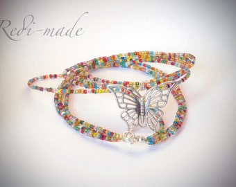 Necklace - multistrand beaded wire with a butterfly pendant (#259560)