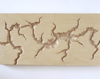 Hand carved wood wall sculpture