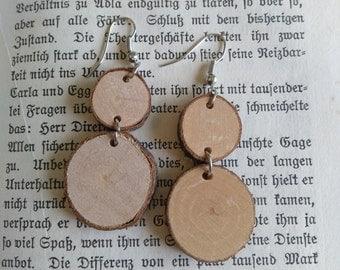 Wooden earrings Birch eyecatcher hippie