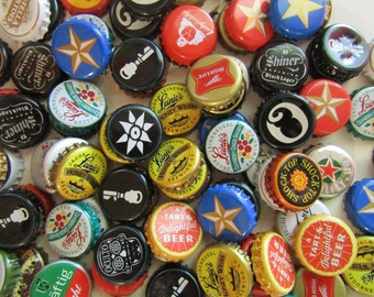 Beer Bottle Cap Magnets Craft Beer Seasonal Beer Mexican Beer Texas Recycled Bottle Caps Fridge Magnets Shiner Blue Moon Michelob occulto