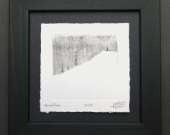 Quietude, with frame, etching and aquatint engraving fir trees in the snow