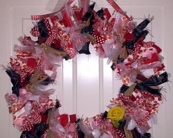 "Strawberry themed ribbon wreath 16"""