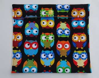 Sandwich and snack - large - colorful - owls reusable bag - Zero waste