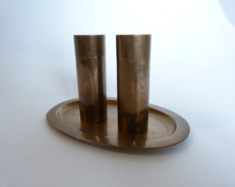 salt and pepper shaker made of brass in the 1960