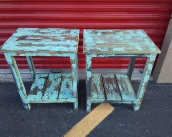 Coastal Furniture, Pair Of Turquoise End Tables, Painted Distressed Beach  Style Side Tables