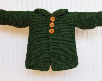 Toddler Hobbit Hooded Cardigan in Old Forest Green