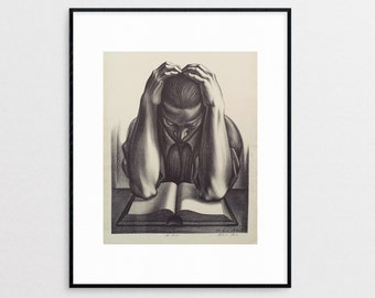 African American Art - Book Lover - Reading - Giclee Print - Wall Art - Home Decor - WPA - Monochrome - Vintage Reproduction - Library Art