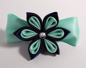 Blue & Teal Flowered Barrette