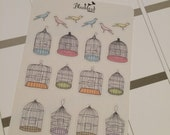 Birds and Cages Planner Stickers