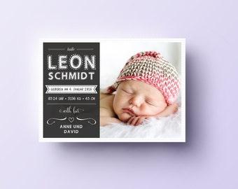 """Babykarte / Geburtsanzeige """"retro"""", DIN A6 quer"""
