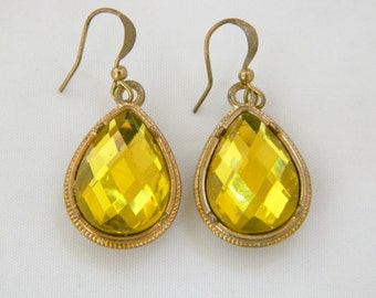 """Vintage 60s Glam Pear Shape Yellow Rhinestone Statement Earrings Brilliant Faceted Glass Gold Tone Dangle Drop Hook 1.5"""""""