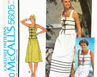 Vintage 70s McCall's 5605 Make it Tonight Sewing Pattern UNCUT, Lace Up Tank Top, A Line Skirt, Size 8, Uncut Pattern